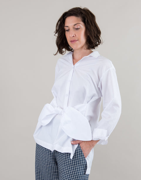 Small batch casual chic clothing sustainably handmade for every woman. White Button Up Cotton Waist Tie Band Bow Shirt.