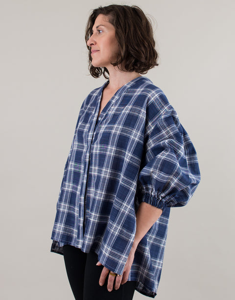 Small batch casual chic clothing sustainably handmade for every woman. Blue White Plaid Cotton Puff Sleeves Blouse.