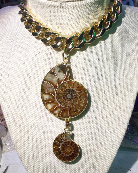 Ammonite Mega Chain Magnet Clasp Necklace