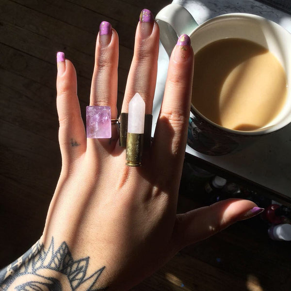 Amethyst Faceted Rectangle Ring