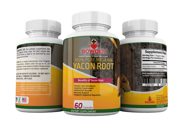 Yacon Root Pure Organic Mega Mix All NATURAL #1 Detox & Toxin Cleanse Weight Loss Management Prebiotioc & Probiotic Supplement Helps Support Colon Kidney Stones Bladder Issues 60 Vegan Capsules