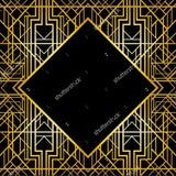 Diamond Gold Frame Gatsby Retro  Backdrop