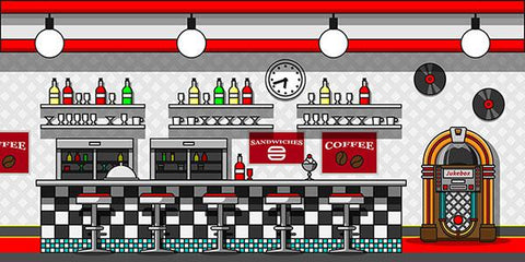 Retro Cafe Interior Flat Line Illustration Backdrop