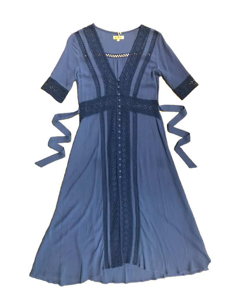 Eclipse Midi Dress in Aegean Blue; with intricate cotton lace panelling. This elegant button-down dress can also be worn unbuttoned as an incredible duster!