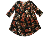 Amuse Society Casyn Dress is a viscose dress with 3/4 sleeves, a beautiful floral design and stunning neckline in the Black Sands colouring (black, sand and orange/brown)