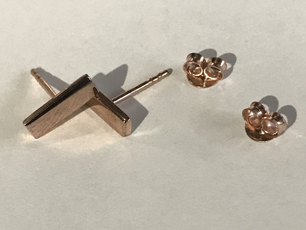 Simple Rose Gold Plated Silver Bar earrings are discrete yet a statement in themselves.