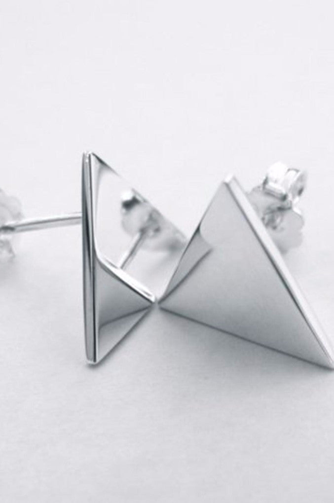 Sterling silver triangle Earrings - designed by ljcdesigns.
