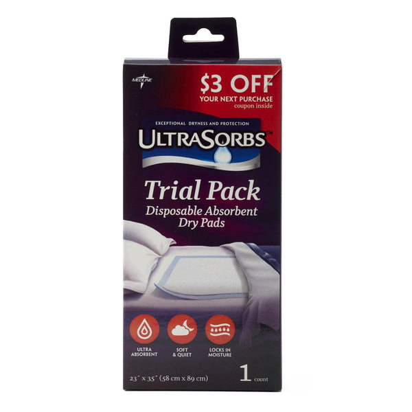 "UltraSorbs Disposable Dry Pad Underpads (Trial Pack 23"" x 36"") 1/PK"