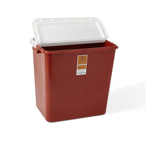 Large Biohazard Containers  12 GAL RED HINGED