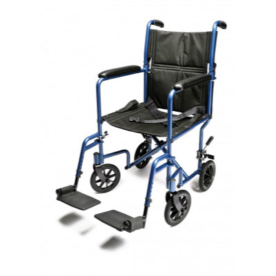 "GF Lightweight Aluminum Transport Chair 19"" Blue - Wealcan"