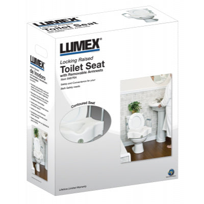 Lumex Locking Raised Toilet Seat with Removable Arms - Wealcan