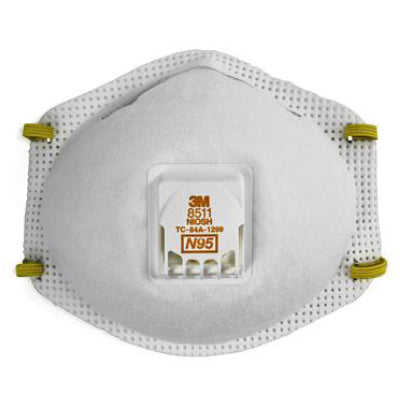 3M N95 8511 Particulate Respirator with Valve 10 Each(BX)