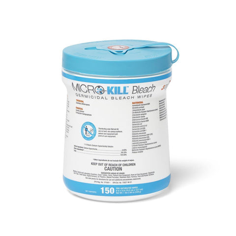 "Micro-Kill Bleach Germicidal Bleach Wipes, 6"" x 5"" - 150 count"