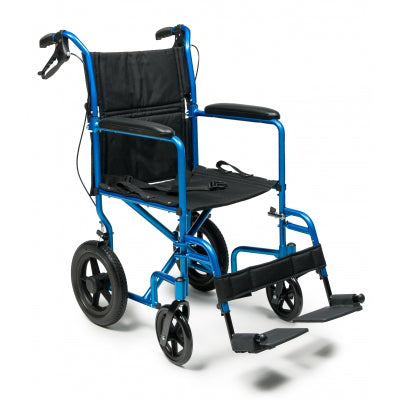 "W/C Deluxe Aluminum Transport Chair W/12"" Rear Wheel - 19"" Blue - Wealcan"