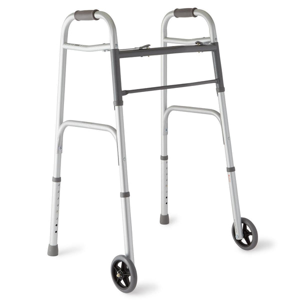 "Two-Button Folding Walkers with 5"" Wheels"