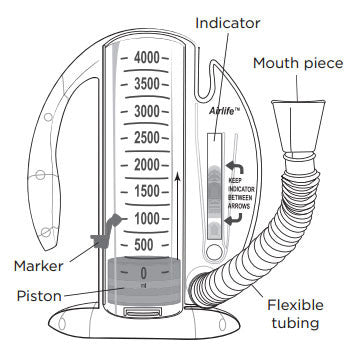 AirLife® CareFusion Incentive Spirometer 4000mL w/1-Way Valve