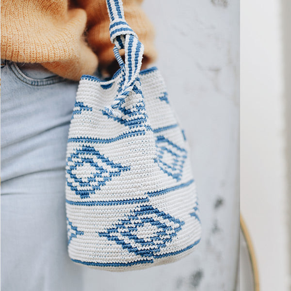 Crochet Bucket Bag Blue