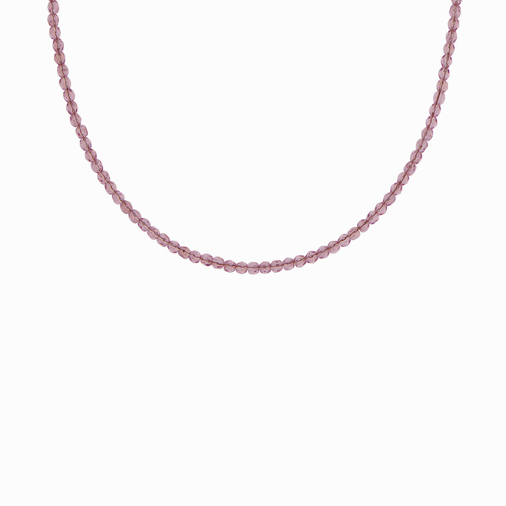 Glass Beaded Necklace - Greek Plum