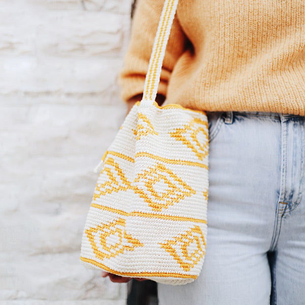 Crochet Bucket Bag Yellow