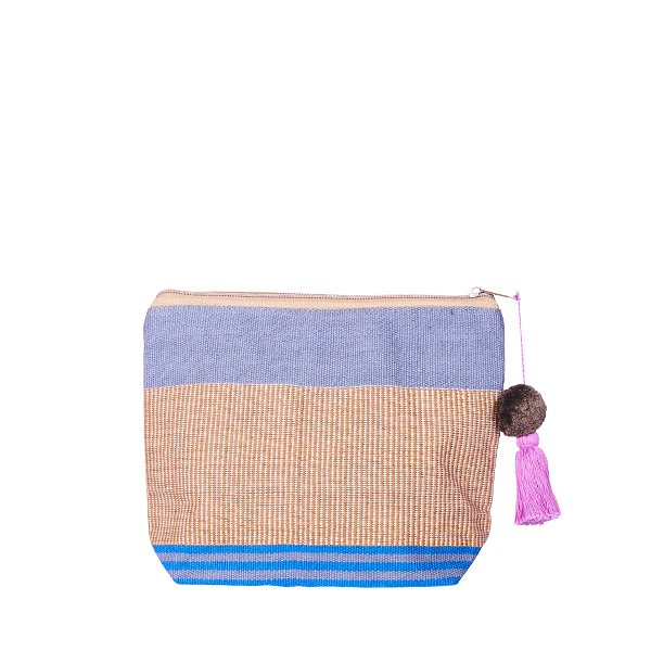 PomPom Cosmetic Bag Blue