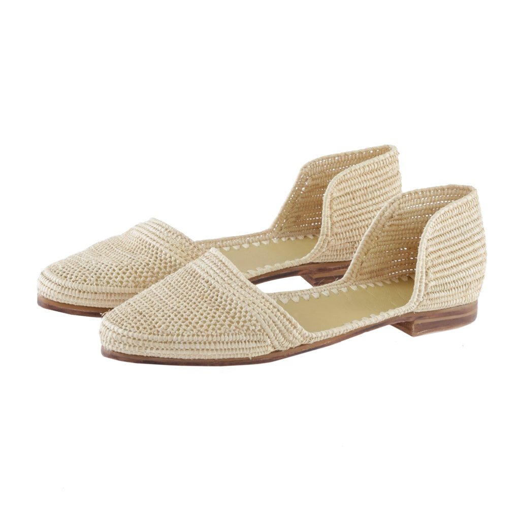 Raffia sandals natural with leather sole hand woven in Morocco by female artisans