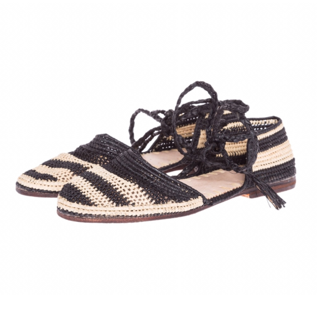 Raffia sandals striped with leather sole hand woven in Morocco by female artisans