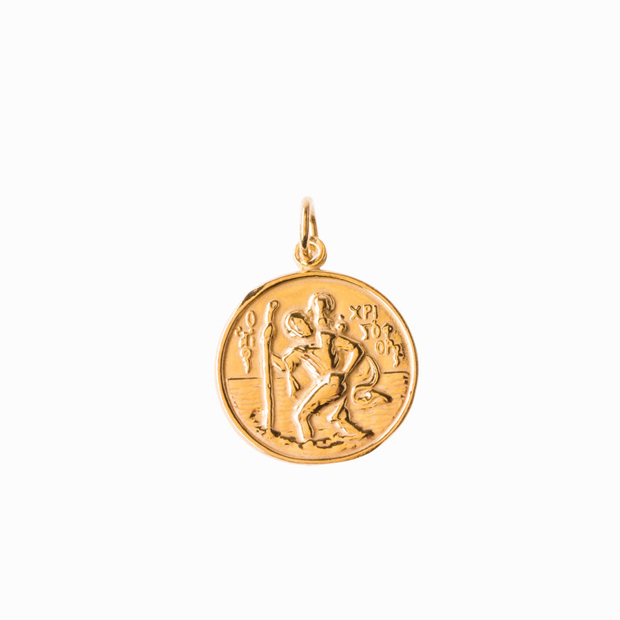St Christopher and Madonna and Child Gold Pendant