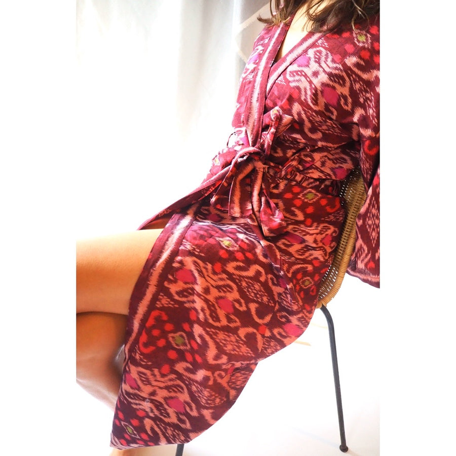 Ikat Robe Burgundy