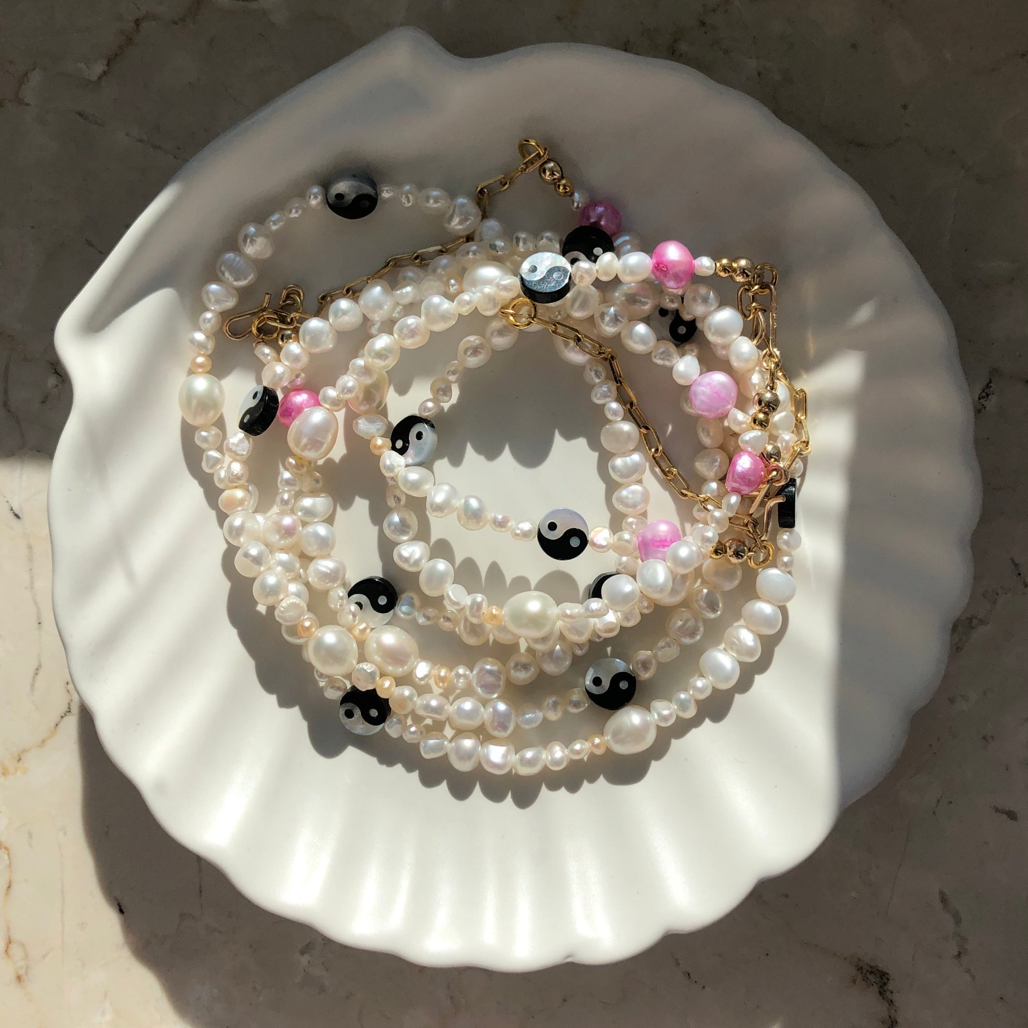 Yin & Yang Pearl Necklace