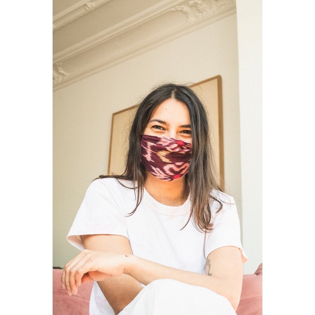 Ikat Face Mask Burgundy