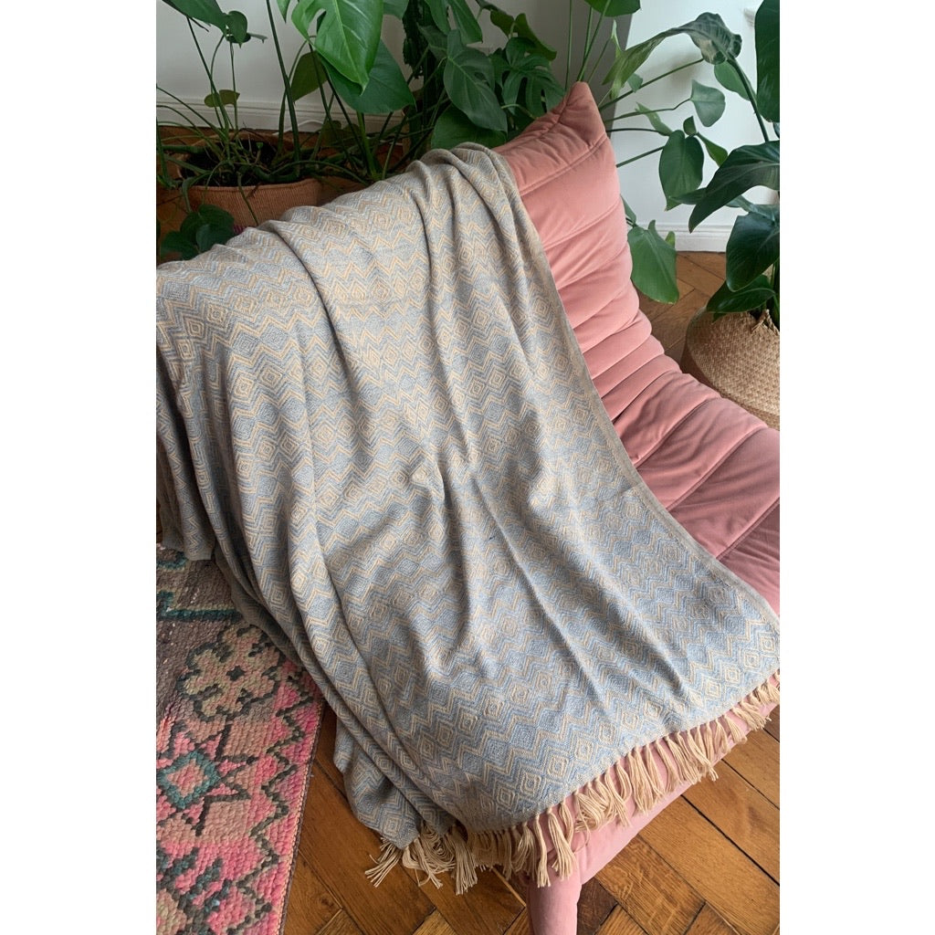 Alpaca Pattern Blanket Grey