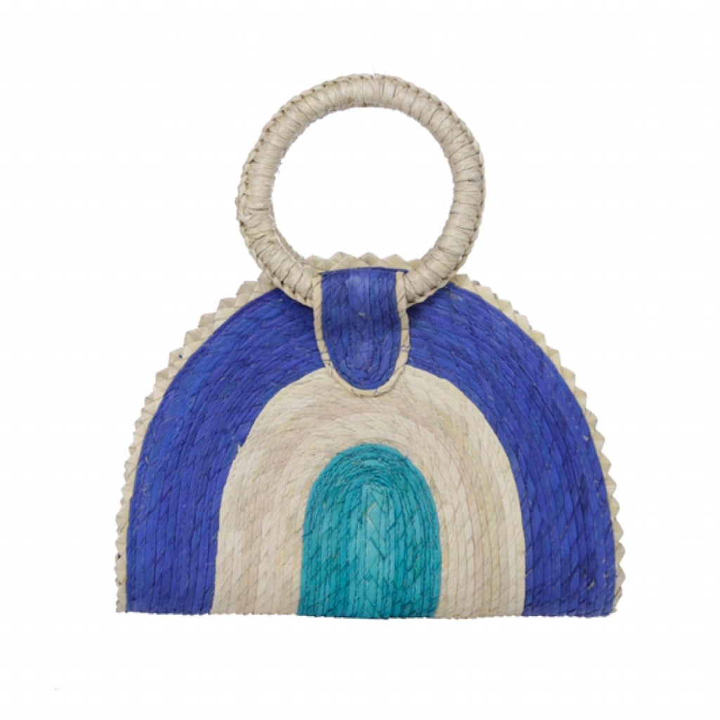Quesadilla Bag in azul exclusive for The Wearness handmade in Mexico from 100% natural palm leaves