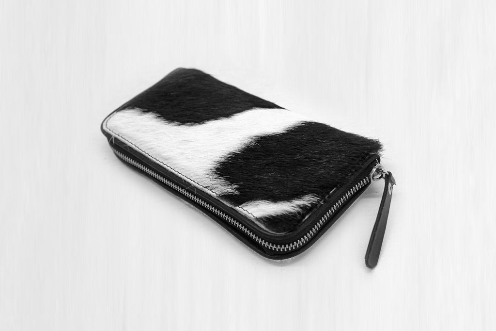 BLACK WHITE COWHIDE Wallet, Calf Hair Purse,Pony Hair Wallet
