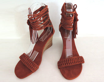 SUEDE SANDALS in Camel / WEDDING Shoes, Dance Wedge Shoes, Tassels