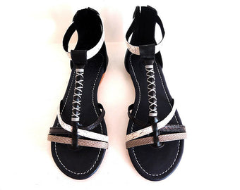 BLACK WHITE SNAKESKIN Leather Sandals For Women.  w/ Hand Pleat Detail.