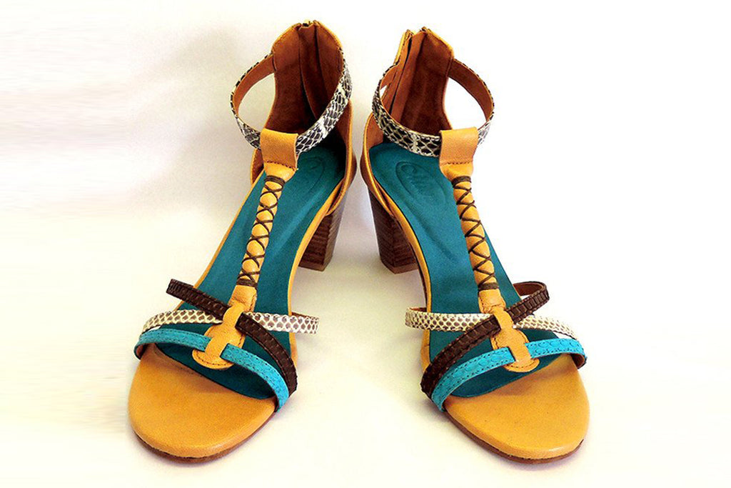 TURQUOISE SNAKESKIN SHOES with Block Heel Snake Skin Blue, Natural & Brown w/ Tan