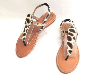 Women's Sandals in Giraffe White Calf Hair. Tammy