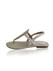 T-Straps Leather Sandals in White Calf hair. Tammy