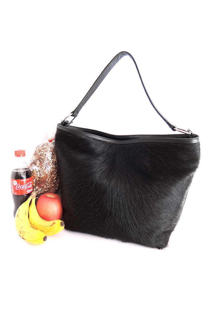 Cowhide Leather Tote in Black Hide Hair. Patty Bag
