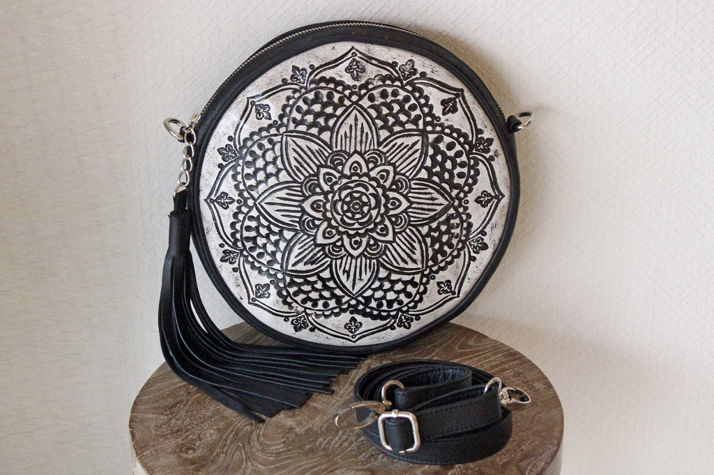 TOOLED LEATHER SLING BAG