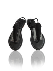 T sandals in Black Fur Cowhide Leather. Tammy sandals