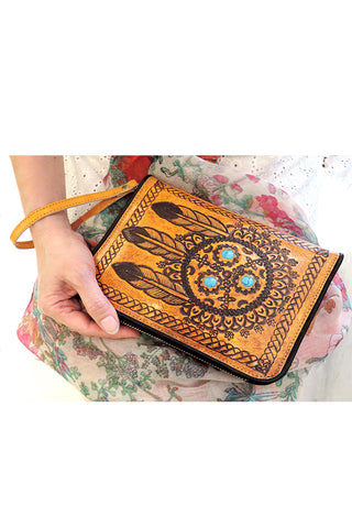 HAND TOOLED Wallet / Women's Purse Clutch
