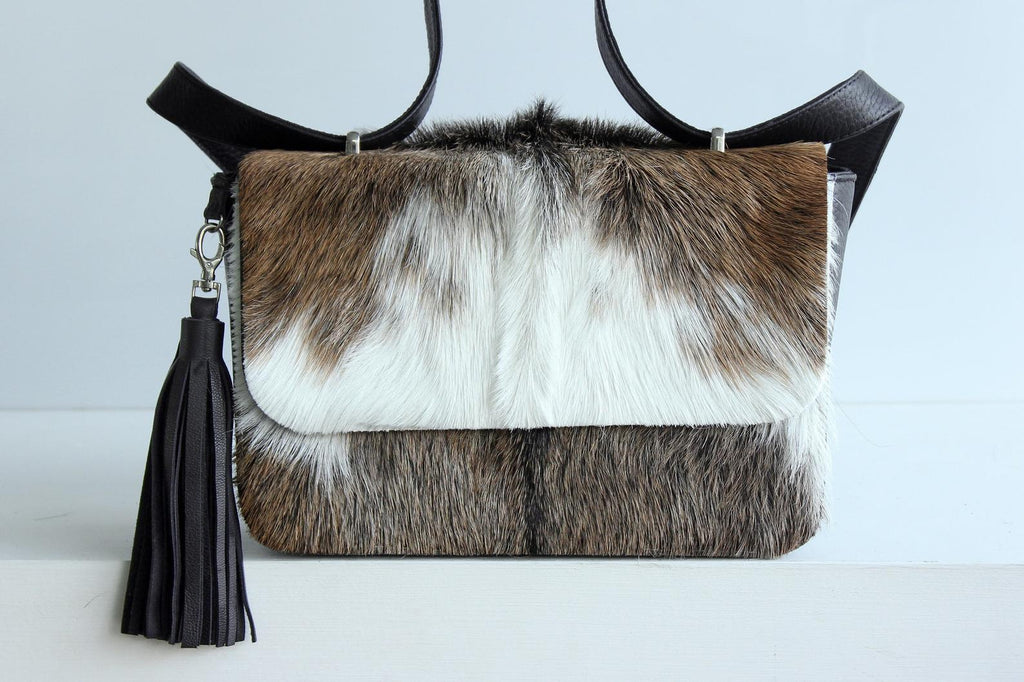 BROWN WHITE COWHIDE Bags, Princess Kate Fur Bag, Leather Clutch Purse, Small Cowhide Bag