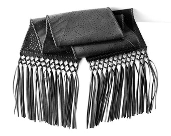 BLACK WINTER SCARF Fringe / Designer Scarf For Women / Leather Shawl