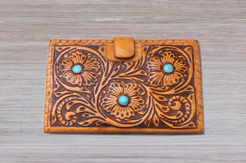 TOOLED LEATHER WALLET in Hand Crafted Hibiscus w/ Turquoise Stones. Vintage Camel. Antique Wallet