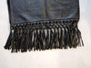 Black Leather Winter Scarf Fringe