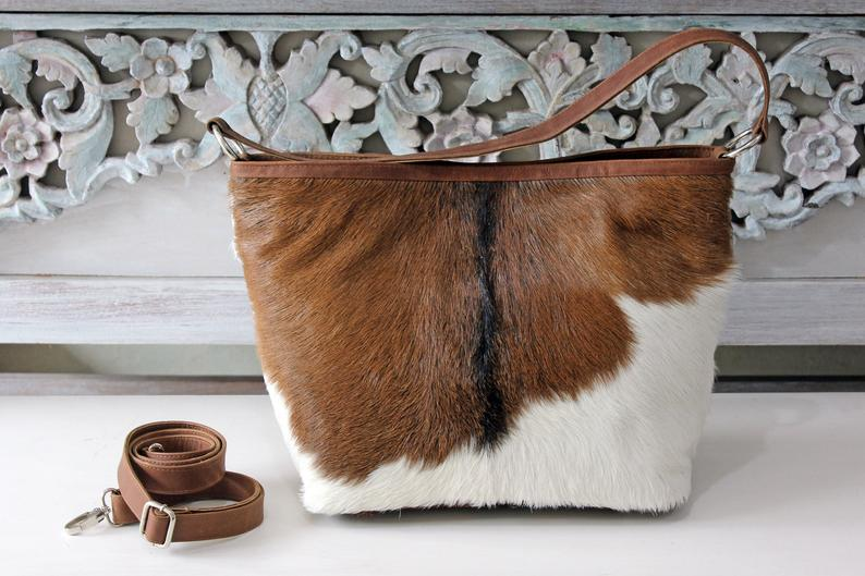 COWHIDE LEATHER BAG in Brown White Hide Hair / SouthWestern Bag / Cowgirl Purse / Furry Sling bag w 2 Straps