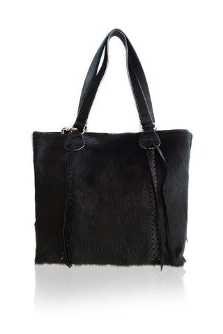 Black Cowhide Tote Bag. Handmade Handbag in Bali. Steven Bag. Mother's Day Gift