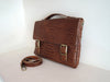 Dark Brown Emboss Leather Satchel Mens Bag.