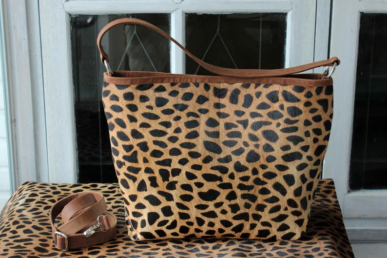 GIRAFFE BROWN Hair on Hide Bag / Animal Print Cowhide Handbag / Cowhide Women Handbags Hide Hair.